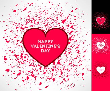 romance: Set of vector valentines hearts on grunge background. Love and romance design element.