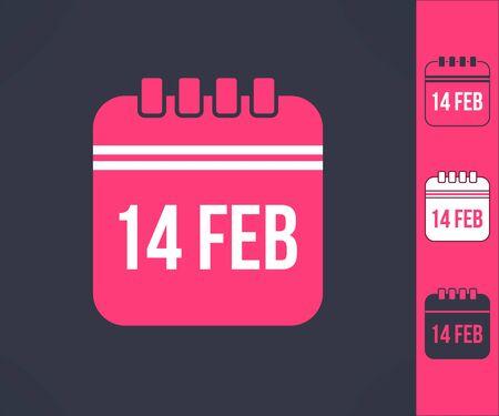 romance: Set of vector valentines calendar reminder symbols. Love and romance design element.