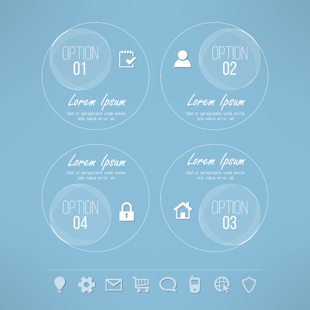 limpid: Vector glassy circles infographic design suitable for business presentations and reports. Four steps process transparent background with set of icons.