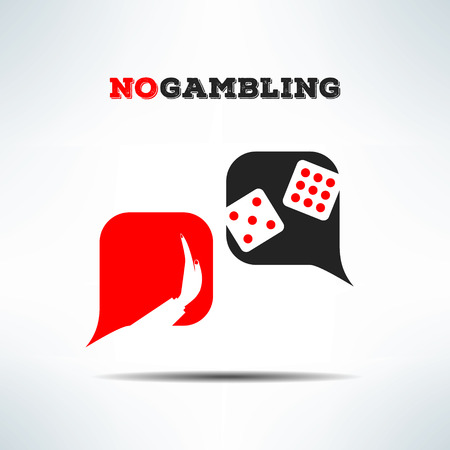 pernicious habit: Vector no gambling dialog sign background. Gaming forbidden sign with dice.
