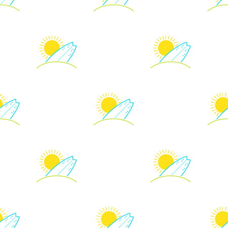 surfing board: Vector surfboards and sun seamless pattern in modern flat design. Surfing board sunny beach background.