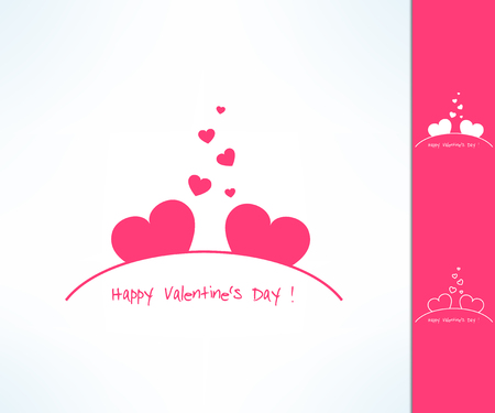 romance: Set of vector valentines couple signs with two hearts. Love and romance design element.