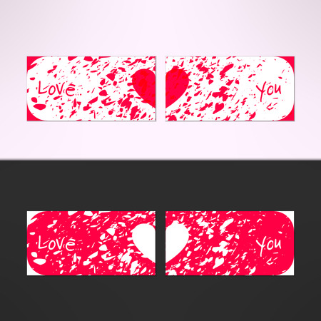 you figure: Vector valentines card with debris grunge background and love you text. Passion and romance design element. Illustration
