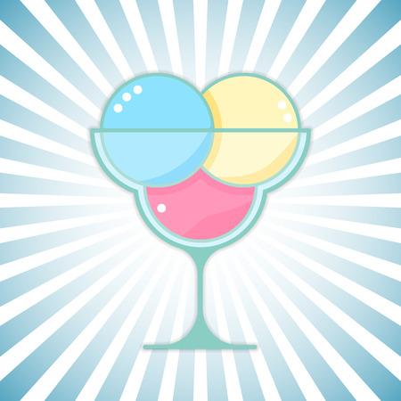 outburst: Vector ice-cream on modern outburst background. Bright ice cream dessert design element.