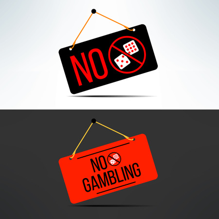 Vector no gambling dangling board with dice. Gaming forbidden sign. Illustration