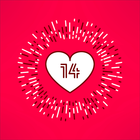 outburst: Vector valentines heart with fourteen number inside on tribal outburst background. Love and romance design element.
