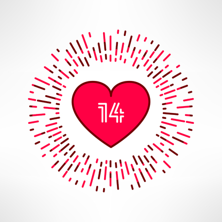outburst: Vector valentines heart on tribal outburst background with 14 date inside. Love and romance design element.