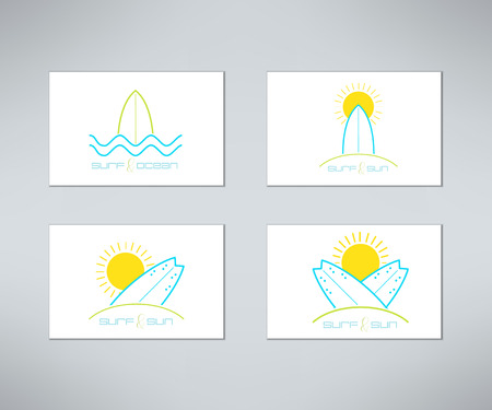 surf shop: Set of vector surfing cards design made in modern clean and bright style. Surfboarding t-shirt prints. Surf design elements.