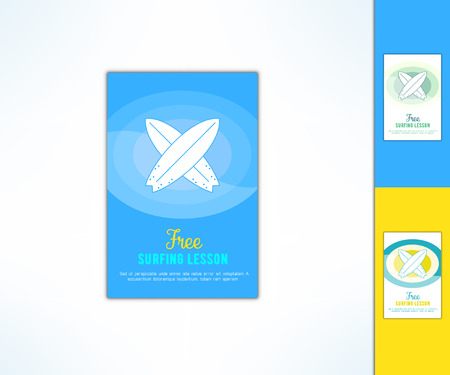 Vector surfing lesson ad with in modern flat design. Surf class advertising design element.