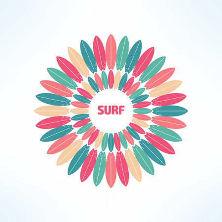 Vector bright and colorful surfing background made in modern flat design. Surfer tshirt print. Surfboards kaleidoscope .