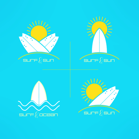 Set of vector surfing cards design made in modern clean and bright style. Surfboarding tshirt prints. Surf design elements.
