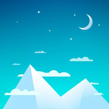Vector beautiful night with snowy mountains. Mountain peaks with clouds, bright stars and the moon.