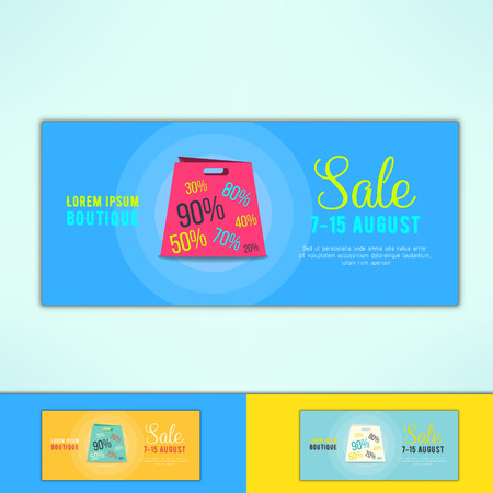 Vector shopping sale ad with in modern flat design. Promotional design element.