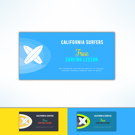 Vector surfing lesson ad in modern flat design. Surf class advertising design element.