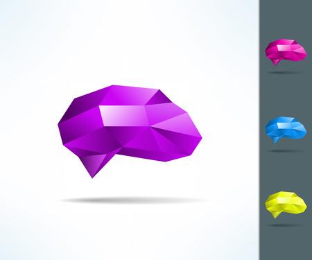 Creative brain in low poly geometrical design. Idea concept design layout for poster cover brochure. Ilustração