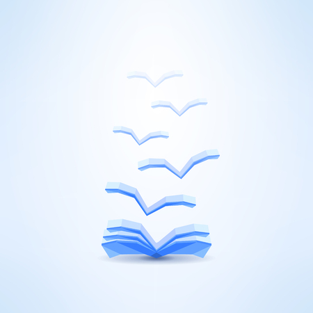 Book icon with flying pages made in low poly design. Learning and dreaming concept. Ilustração