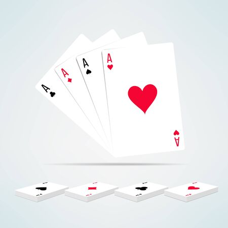 Four aces hand in realistic and clean design. Card games template