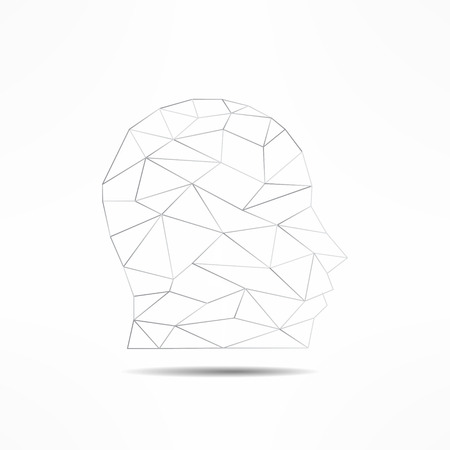 profile silhouette: Human face profile silhouette isolated. 3d mans face outline avatar. Internet anonymous face profile pic. Social network guest avatar.