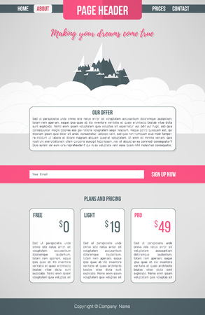 Landing website template. Landing page design lay-out. Informatie één pagina website lay-out Stock Illustratie