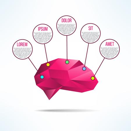 Brain infographic low-poly design. Human brain infographics template. Brainstorming diagram.