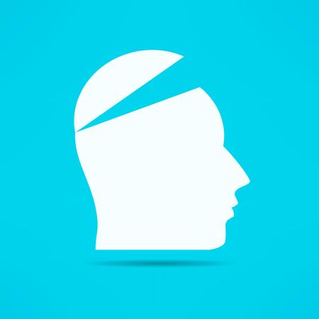 Open your mind design. Free your mind. Opened head. Attention concept. Ilustração