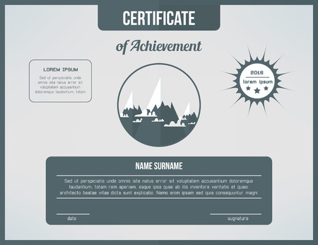 Certificate template for achievement. Gray certificate design with mountains and clouds. Web cetrification page design.
