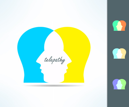 two minds: Telepathy people idea. Telepath person head icon. Telepathic brain ability concept. Illustration