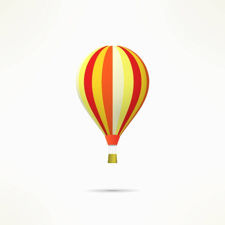 Colorful hot air balloon isolated on white.