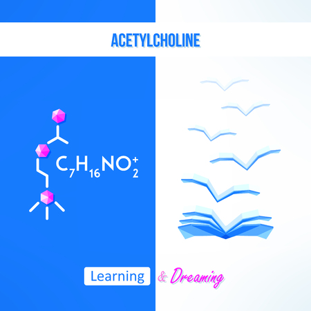 acetylcholine: Learning chemistry concept. Chemistry poster with acetylcholine formila. Learning and dreaming inspirational design.