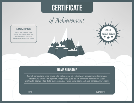 Certificate template for achievement. Gray certificate design with mountains and clouds. Web cetrification design layout. Ilustração