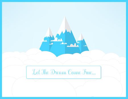 Dramy mountains landscape. Let the dreams come true romantic inspirational concept.