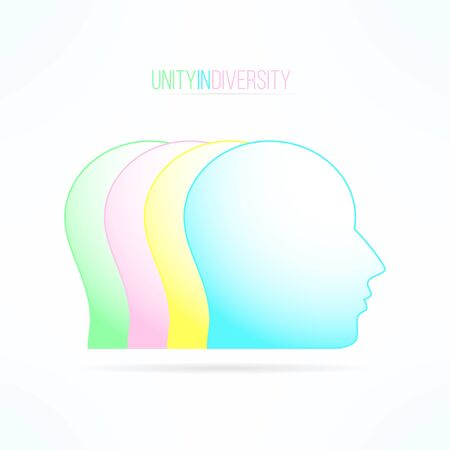 Unity in diversity concept. United people. Opinions and views diversity. Colorful team work design element. Ilustração