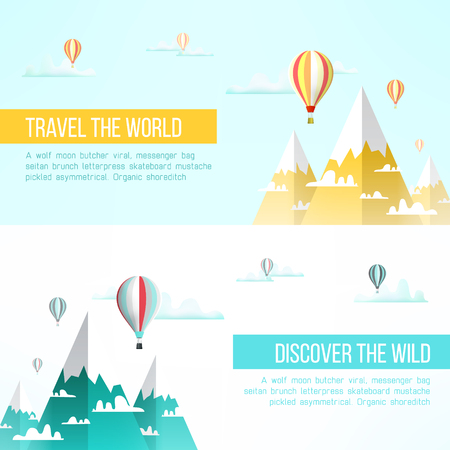 snow climbing: Travel to mountains background. Mountains adventure flyer design. Mountains climbing concept. Mountain landscape with balloons, snow peaks and clouds.