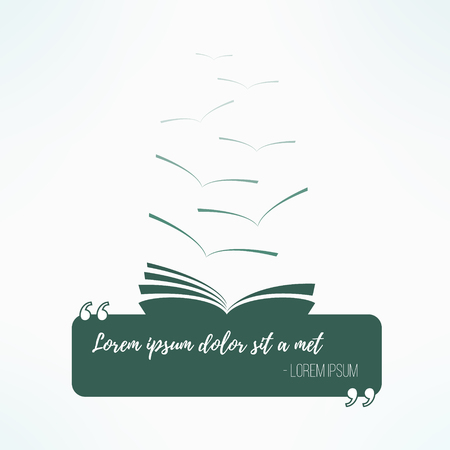 Quote box with a book. Quoting artistic design element. Dreamy text box frame. Inspirational quotation bubble.