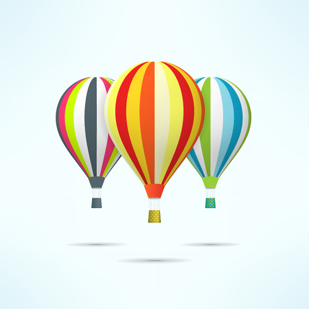ballooning: Colorful hot air balloons isolated on white. Discovery and travel concept.
