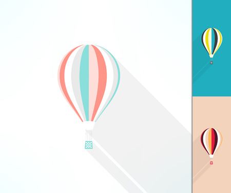 ballooning: Colorful hot air balloon made in modern flat design with long shadow. Discovery and travel concept.