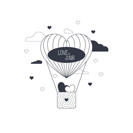 Love is in the air concept. Heart shaped balloon of love. Light happy love concept. Ilustração