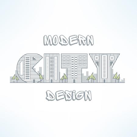 City background in thin line design. Flat city street silhouette. City design element made of letters. Ilustração