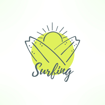 Surfing logo made in hand drawn design. Surf icon in thin uneven lines. Surfing boards crossed and the sun. Ilustração