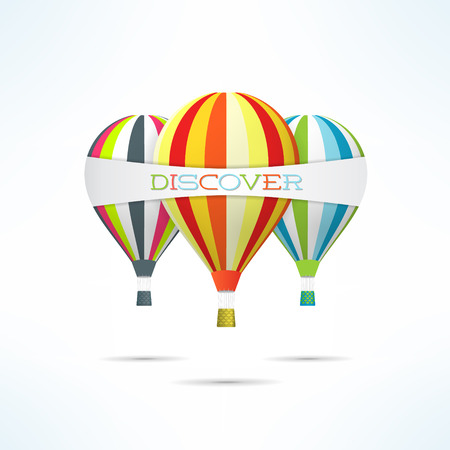 discover: Colorful hot air balloons with discover word banner. Travel and discover concept.