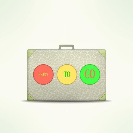Ready to go travel case. Traveling design element. Traveler bag isolated. Vintage suitcase icon. Ilustração