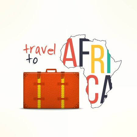 Travel to africa concept. African traveler background. Africa map with traveling suitcase.
