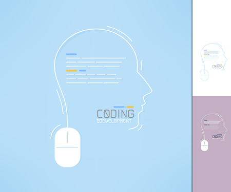 coder: Coder and developer profile. Programmer silhouette. Coding and development concept.