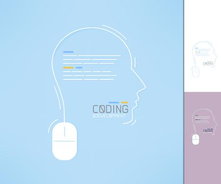 Coder and developer profile. Programmer silhouette. Coding and development concept.