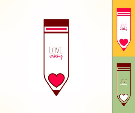 Writing hobby. Love writing concept. Pencil icon with heart. Ilustração