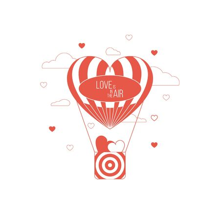 Love is in the air concept. Heart shaped balloon of love. Red happy love concept
