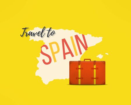 spain map: Travel to spain concept. Spanish traveler background. Spain map with traveling suitcase. Illustration