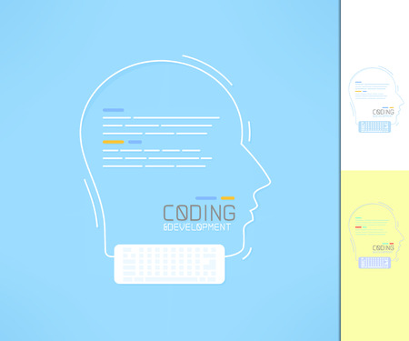developer: Coder and developer profile. Programmer silhouette. Coding and development concept.