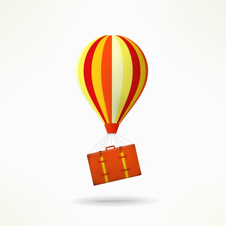 shifting: Travel case with balloon. Mooving and travelling design element. Shifting idea.