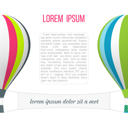 discover: Colorful hot air balloons with banner. Travel and discover concept.